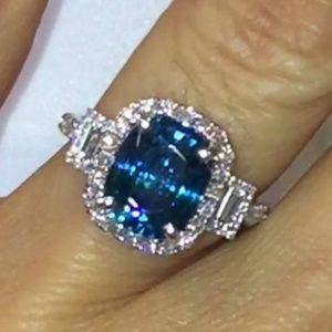 Blue Zircon Art Deco Setting sz 8 Gold Plt./Silver